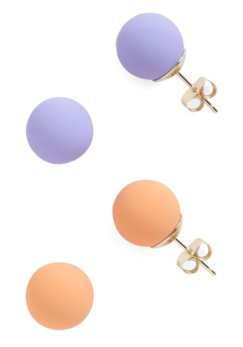 Candy Dot Earrings in Melon - Casual, Vintage Inspired, Orange, Purple