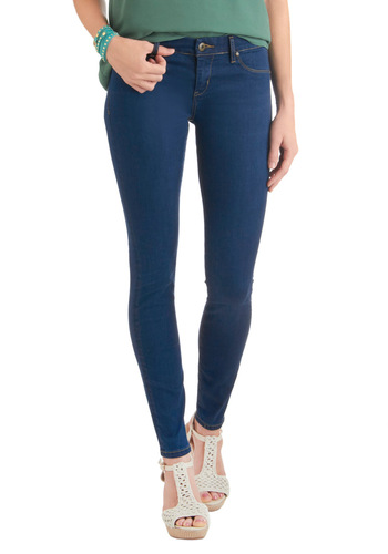 Tell It to Me Straight Jeans by Blank NYC - Blue, Solid, Pockets, Casual, Long, Denim, Skinny