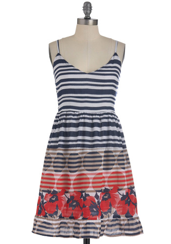 Spot the Dot Dress - Mid-length, Multi, Red, Blue, Tan / Cream, White, Stripes, Floral, Ruffles, Casual, A-line, Spaghetti Straps, Summer