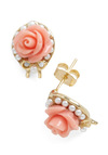 Floral Concert Earrings - Vintage Inspired, White, Gold, Bows, Flower, Solid, Pearls, Work, Pastel, Daytime Party, Coral