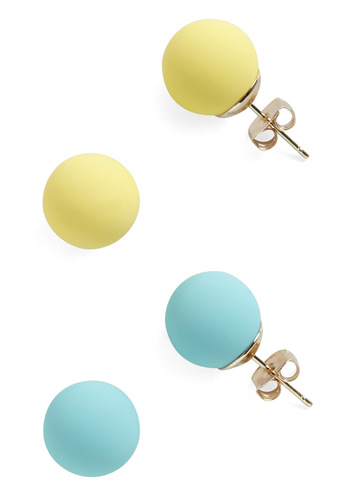 Candy Dot Earrings in Citrus - Casual, Vintage Inspired, Blue, Solid, Yellow