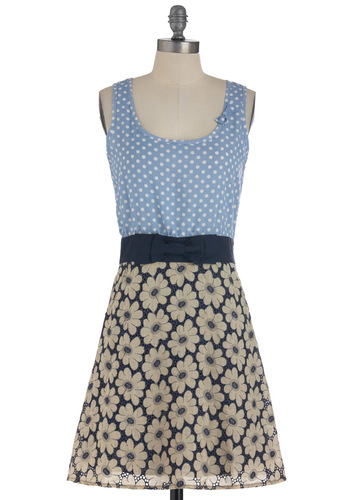 Daisy You Soon Dress by Yumi - Tan / Cream, White, Polka Dots, Floral, Bows, Exposed zipper, Pockets, Party, Twofer, Tank top (2 thick straps), Summer, Blue, Mid-length