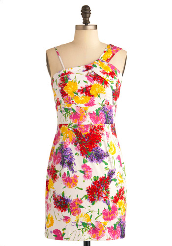 Simmer It Up Dress - Short, Multi, Red, Yellow, Green, Purple, Pink, White, Floral, Party, Sheath / Shift, Spaghetti Straps, Summer, Tis the Season Sale