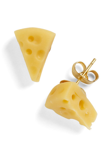 Cest Cheese Earrings by Hannah Makes Things - Yellow, Solid, Casual, Kawaii, International Designer