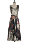 Evening by the Ocean Dress - Long, Multi, Pink, Tan / Cream, Black, Floral, Party, Maxi, Belted, Tank top (2 thick straps)