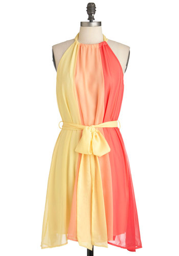 Scoop of Sorbet Dress - Mid-length, Multi, Orange, Yellow, Party, Tent / Trapeze, Halter, Summer, Belted, Colorblocking, Pastel