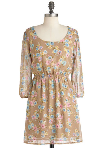 Candy Blossoms Dress - Short, Tan, Multi, Yellow, Blue, Pink, Floral, Backless, Casual, 3/4 Sleeve, Spring, Fit & Flare