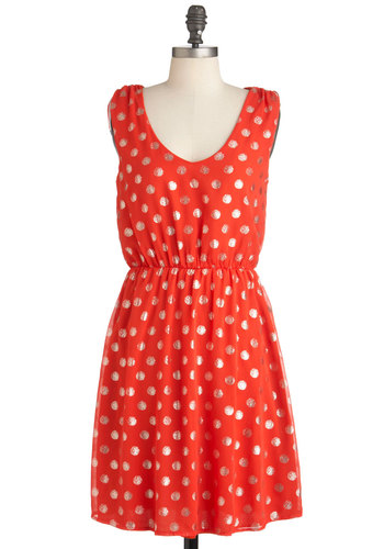 Dew It Like This Dress - Mid-length, Red, Gold, Polka Dots, Backless, Party, Shift, Sleeveless, Glitter, Daytime Party, Scoop