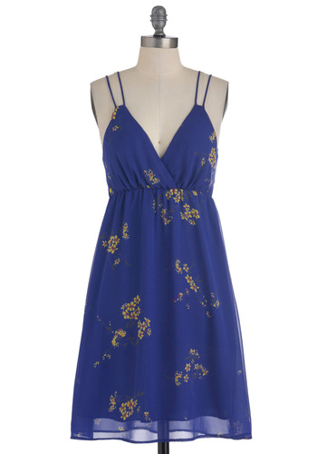 A Single Sprig Dress - Mid-length, Blue, Yellow, Floral, Casual, Empire, Spaghetti Straps, Summer