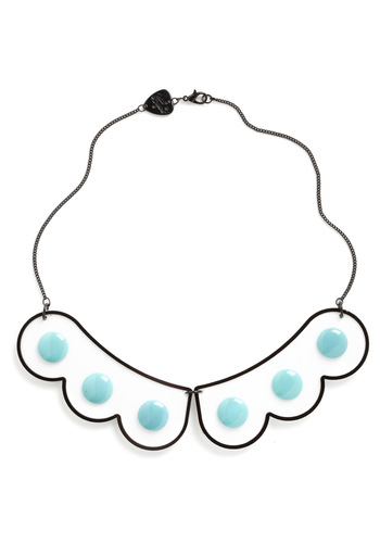 Collar-ly Pursuits Necklace by Tatty Devine - Blue, Black, White, Polka Dots, Kawaii, Scallops, Statement