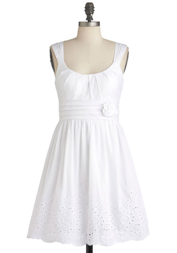 Mint Milkshake Dress in Vanilla - White, Solid, Eyelet, Flower, Pleats, Wedding, Party, Empire, Tank top (2 thick straps), Summer, Mid-length, Cotton, Fit & Flare