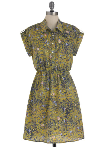 Wooded Walk Dress - Mid-length, Yellow, Multi, Blue, Pink, Floral, Print with Animals, Buttons, Pockets, Casual, Shirt Dress, Short Sleeves