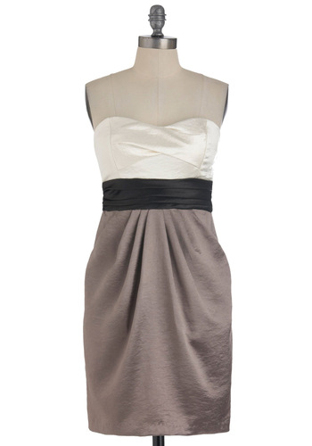 How It's Done Dress - Tan / Cream, Black, Pleats, Strapless, Pockets, Party, Empire, Mid-length, Cocktail, Satin, Sweetheart