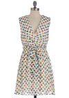 Shape on It Dress - Mid-length, Multi, Red, Yellow, Green, Blue, White, Print, Casual, Sheath / Shift, Sleeveless, Belted, V Neck
