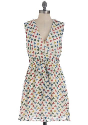Shape on It Dress - Mid-length, Multi, Red, Yellow, Green, Blue, White, Print, Casual, Shift, Sleeveless, Belted, V Neck