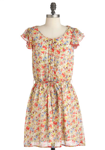 Pattern Familias Dress - Multi, Yellow, Blue, Pink, Floral, Mid-length, Pastel, Sheer