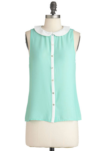 Mint as Well Top - Green, White, Buttons, Peter Pan Collar, Sleeveless, Summer, Mid-length, 50s