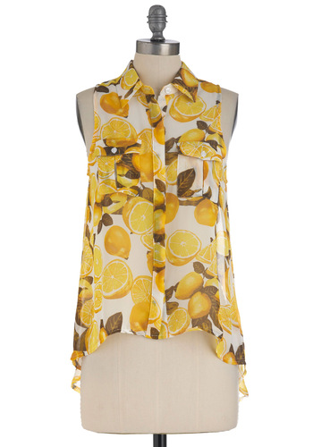 Squeeze the Day Top - Mid-length, Yellow, White, Buttons, Pleats, Pockets, Sleeveless, Fruits, Novelty Print, Summer, Sheer