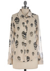 Rock Legend Top in White - Cream, Black, Buttons, Long Sleeve, Novelty Print, Casual, Mid-length, Sheer, Button Down, Collared, Halloween