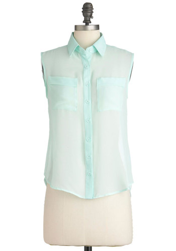 Mint Marshmallows Top - Mid-length, Solid, Buttons, Cutout, Pockets, Menswear Inspired, Sleeveless, Blue, Pastel, Sheer, Button Down, Collared, Mint