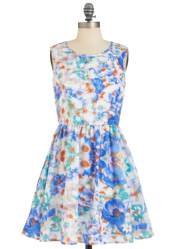 Dream Garden Dress - Short, Multi, Orange, Blue, Floral, Cutout, Pockets, Party, Sleeveless, Fit & Flare, White, Buttons, Spring