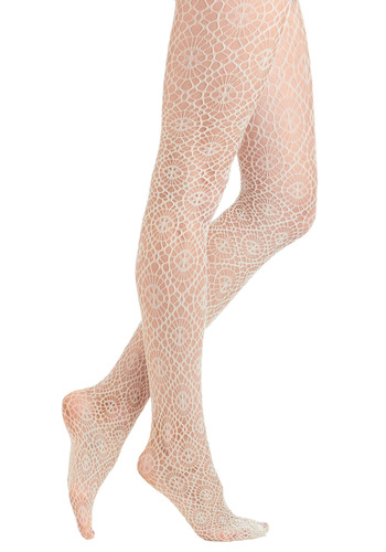 Web Designer Tights - Cream, Crochet