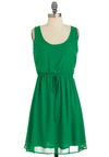 Sur la Grass Dress - Mid-length, Green, Solid, Tank top (2 thick straps), Summer