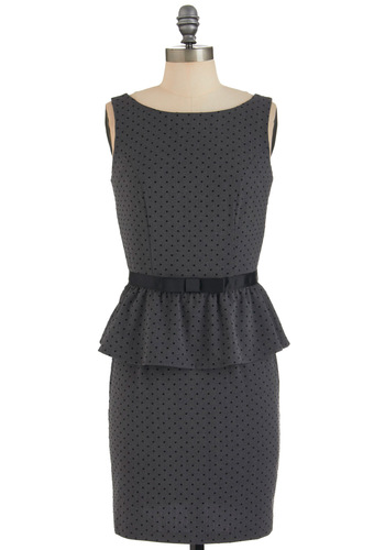 Editor's Pick Dress - Mid-length, Grey, Black, Polka Dots, Bows, Work, Sleeveless, Peplum, Cocktail