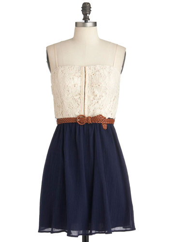 Bodice of Work Dress - Blue, Tan / Cream, Lace, Twofer, Spaghetti Straps, Summer, Belted, Sheer, Casual, Short