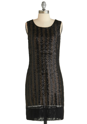 Sample 1834 - Brown, Black, Stripes, Sequins, Party, Sheath / Shift, Sleeveless, Cocktail