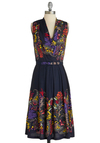 Folklore Me In Dress by Eva Franco - Long, Blue, Multi, Multi, Floral, Paisley, Pleats, Party, Sleeveless, Belted, Cowl, Tis the Season Sale, Work, A-line, Exclusives