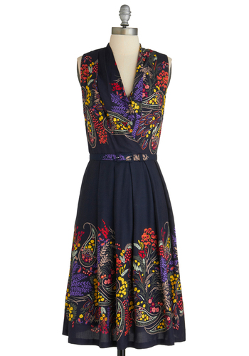 Folklore Me In Dress by Eva Franco - Long, Blue, Multi, Multi, Floral, Paisley, Pleats, Party, Sleeveless, Belted, Fit & Flare, Cocktail, Cowl, Tis the Season Sale