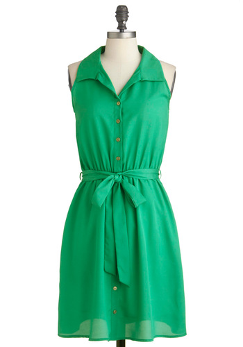 Lawn Your Way Dress - Mid-length, Green, Solid, Work, Shirt Dress, Sleeveless, Summer, Sheer, Belted
