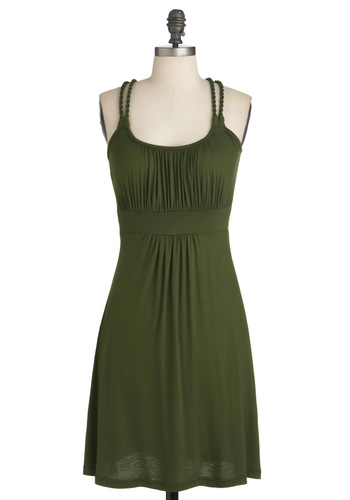 Richly Royal Dress in Olive - Mid-length, Green, Solid, Braided, Casual, Empire, Spaghetti Straps, Exclusives, Jersey, Variation