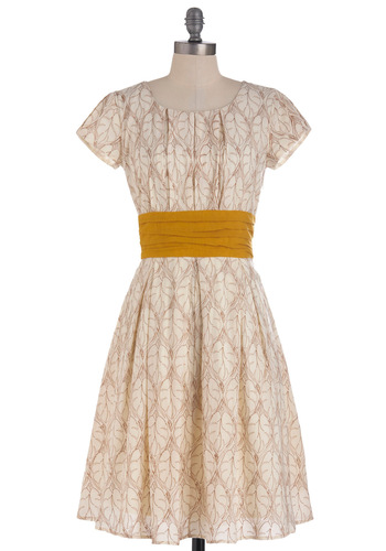 Tree-ming of You Dress - Long, Cream, Yellow, Print, Pleats, Party, A-line, Short Sleeves, Brown, Embroidery