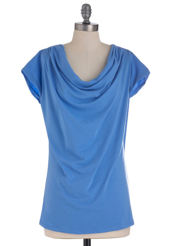 Cowled to Say Hello Top - Blue, Solid, Short Sleeves, Casual, Cowl