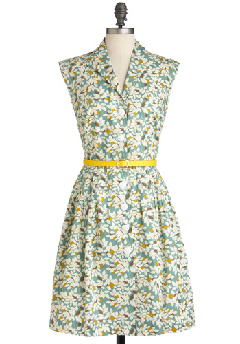 By Design Dress - Mid-length, Multi, Yellow, Green, Purple, White, Print, Buttons, Pockets, Party, Casual, Shirt Dress, Sleeveless, Belted, Vintage Inspired, Spring, International Designer