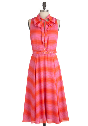 Pinking Clearly Dress by Eva Franco - Long, Orange, Pink, Stripes, Party, Sleeveless, Summer, Belted, Shirt Dress, Tie Neck, Button Down, Fit & Flare, Tis the Season Sale
