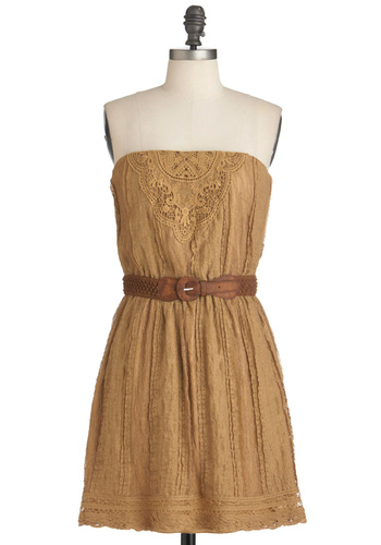 Wine Night Dress - Tan, Solid, Crochet, Casual, Sheath / Shift, Lace, Boho, Strapless, Belted, Mid-length