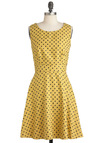 Bee Who You Are Dress - Mid-length, Black, Polka Dots, Cutout, Exposed zipper, Pockets, Party, A-line, Sleeveless, Summer, Yellow, International Designer