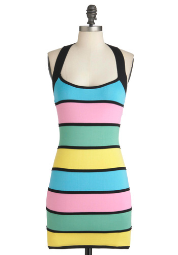 In All Fairness Dress - Multi, Green, Blue, Pink, Black, Stripes, Party, Mini, Short, Yellow, Shift, Halter, Girls Night Out, 80s, Pastel, Bodycon / Bandage