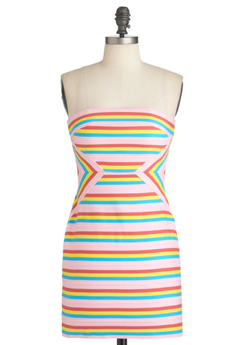 Color-filled Candy Cane Dress - Multi, Red, Yellow, Blue, Pink, Stripes, Party, Mini, Strapless, Summer, Short, Sheath / Shift, Pastel, Girls Night Out, Tis the Season Sale
