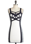 Across My Heart Dress - Black, Cutout, Party, Mini, Tank top (2 thick straps), Short, Grey, White, Bodycon / Bandage, Girls Night Out