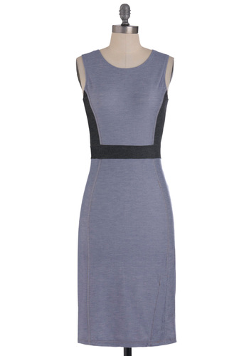 Jean You Around Dress by Motel - Long, Blue, Black, Buttons, Sheath / Shift, Sleeveless, Casual