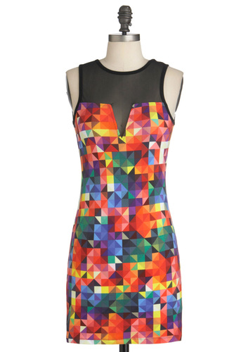 It's a Colorful Life Dress by Motel - Short, Multi, Red, Orange, Yellow, Green, Blue, Purple, Pink, Black, Print, Cutout, Mini, Sleeveless, Summer, Girls Night Out, Bodycon / Bandage, Neon, Sheer, Cotton