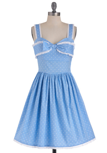 Little Blue Peep Dress - Mid-length, Blue, White, Polka Dots, Bows, Party, Summer, Fit & Flare, Eyelet, Spaghetti Straps, Pastel, Cotton, Sweetheart
