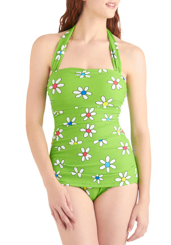 Bathing Beauty One-Piece Swimsuit in Groovy Daisy - Green, Multi, Multi, Floral, Halter, Summer, Exclusives