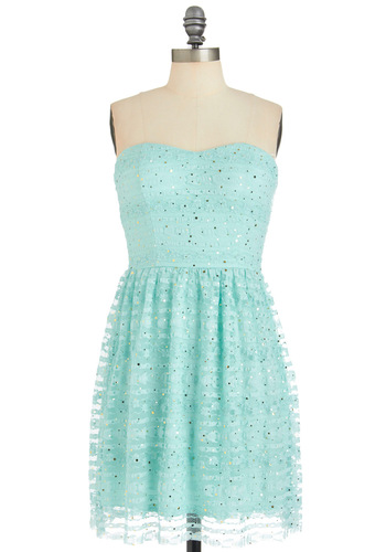 That's What I Mint Dress - Green, Lace, Sequins, Party, Strapless, Solid, Shift, Spring, Fairytale, Mid-length, Pastel, Prom, Summer