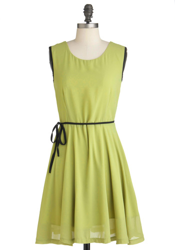 Honeydew Your Own Thing Dress - Mid-length, Green, Black, Solid, Party, A-line, Sleeveless, Sheer, Belted, Cocktail, Chiffon