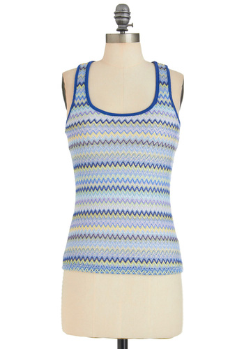 Ham-mock It Up Top - Blue, Yellow, Purple, Casual, Racerback, Multi, Stripes, Knitted, Summer, Mid-length